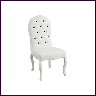 White Leather Feature Dining Chair With Black Studs