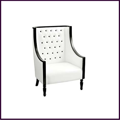 White Leather Feature Chair with Black Diamantes