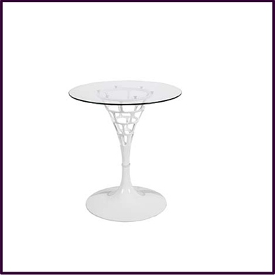 White Clear Sendero Reverse Table Abs Temp Glass
