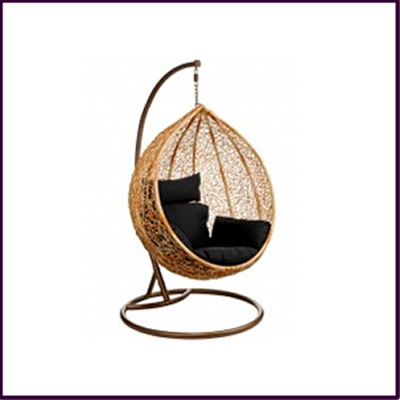 Hanging Chair Natural Rattan with Black Cushion