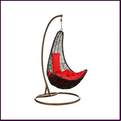 Hanging Chair Dark Rattan with Red Cushion