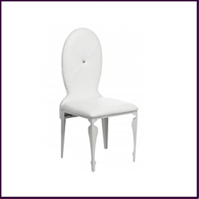 White Leather Effect with Diamante Dining Chair
