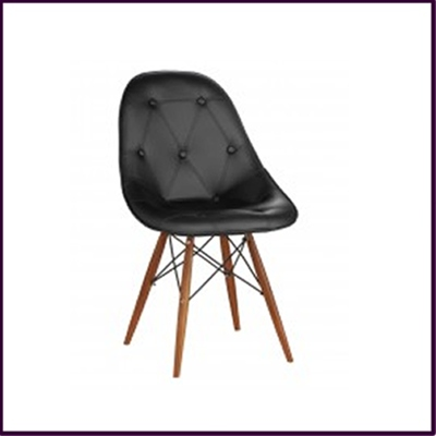 Black Leather Effect Dining Chair