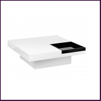 White High Gloss Black Tray Coffee Table