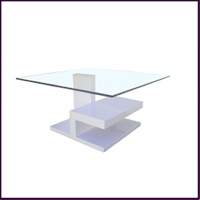 Clear Tempered Glass with White High Gloss Finish Coffee Table