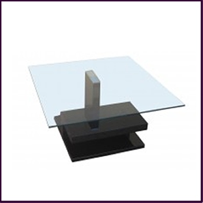 Clear Tempered Glass with Black High Gloss Finish Coffee Table
