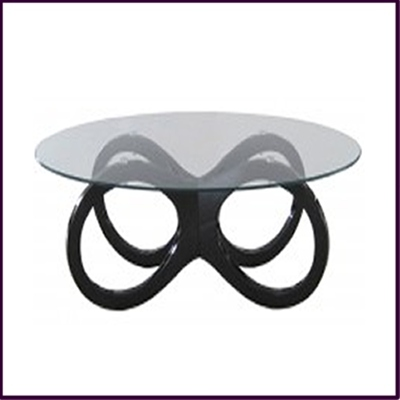 Clear Tempered Glass with Black High Gloss Coffee Table