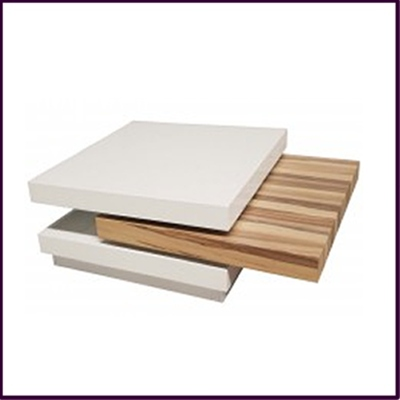 Woodgrain Effect Veneer, White High Gloss Finish Coffee Table