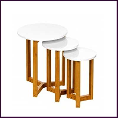 Nest of 3 Tables White High Gloss Finish with Bamboo Legs