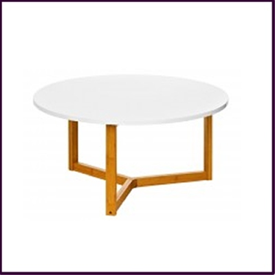 White High Gloss Coffee Table with Bamboo Legs