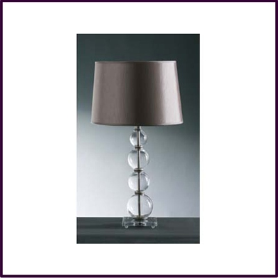 Elegant 4 Ball Glass Table Lamp Crystal Cut Base with Mink Shade