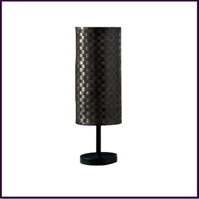 Bamboo Table Lamp - Mayon Matt Black Metal Table Lamp with Woven Bamboo Shade