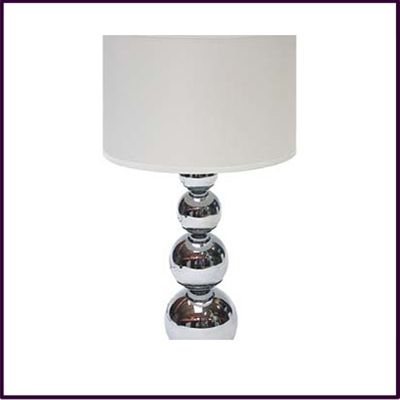 Cameo Chrome Graduated Ball Touch Table Lamp with White Fabric Shade