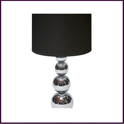 Cameo Chrome Graduated Ball Touch Table Lamp with Black Fabric Shade