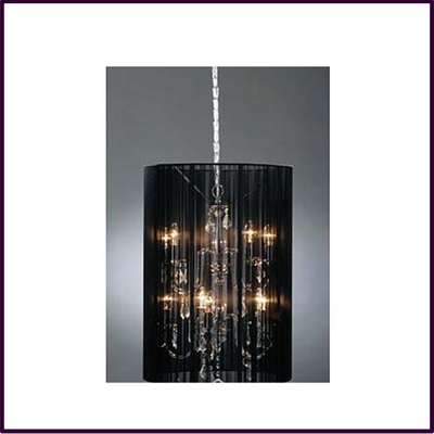Chandelier Silver Metal With Clear Drops With Black Ribbon Large Shade