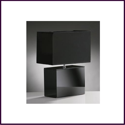 Square Black Glass Table Lamp with Black Shade