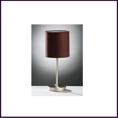 Stick Table Lamp Brushed Stainless Steel With Chocolate Faux Suede Shade