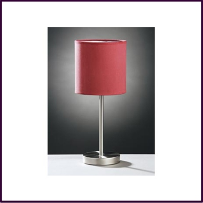 Stick Table Lamp Brushed Stainless Steel With Red Faux Suede Shade