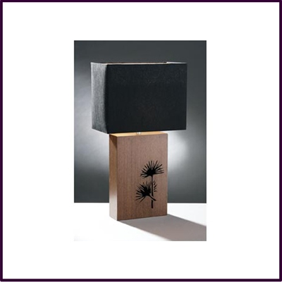 Table Lamp Wenge Veneer Black Shade Papyrus Carved Pattern High Carve