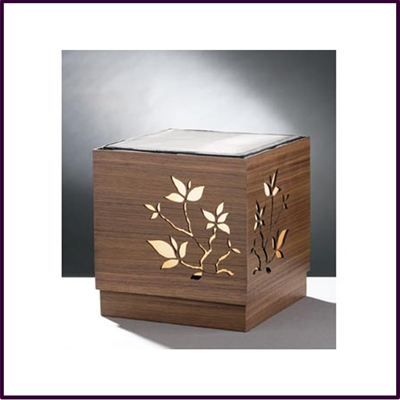 Table Lamp Wenge Veneer Boxed With Papyrus Carving