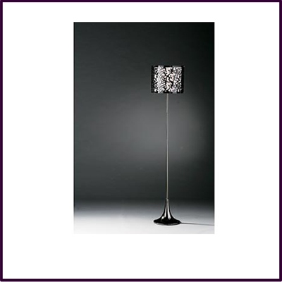 Contour Floor Lamp Gunmetal With Black Acrylic White Fabric Shade