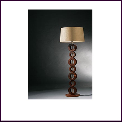 Mango Wood 7 Circle Floor Lamp Dark Brown With Cream Fabric Shade