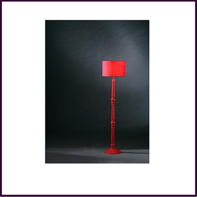 High Red Spindle Wooden Floor Lamp