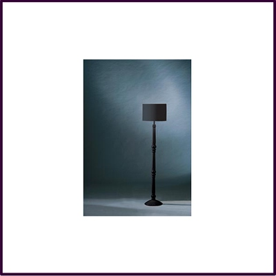 High Black Spindle Wooden Floor Lamp