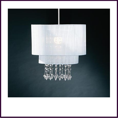 Riband Silver Voile Beaded Pendant Shade