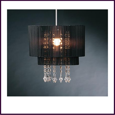 Riband Black Voile Beaded Pendant Shade