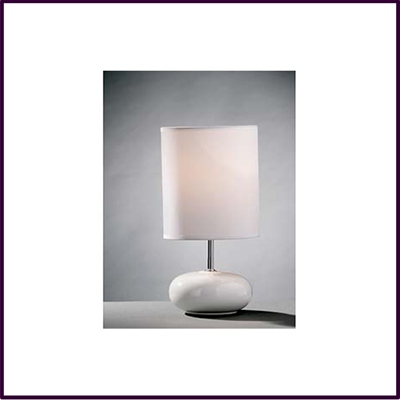 Round White Ceramic Pebble Table Lamp With White Shade