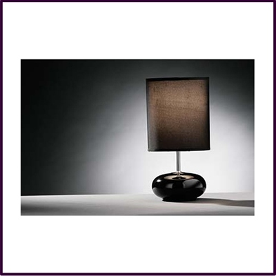 Round Black Ceramic Pebble Table Lamp With Black Shade