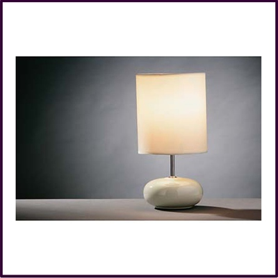 Round Cream Ceramic Pebble Table Lamp With Cream Shade