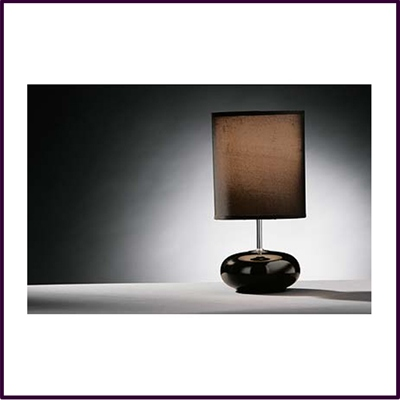 Round Chocolate Ceramic Pebble Table Lamp With Chocolate Shade