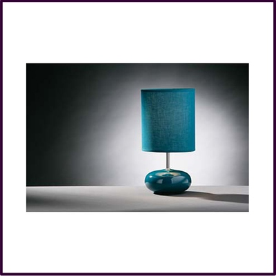Round Teal Ceramic Pebble Table Lamp With Teal Shade