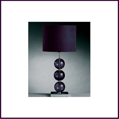 Purple Mistro Table Lamp 3 Glass Balls Chrome Base For Suede Shade