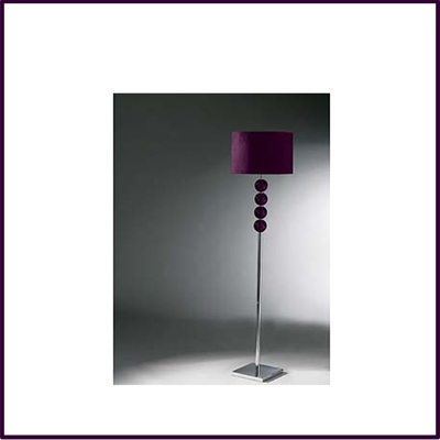 Purple Mistro Floor Lamp 4 Glass Balls Chrome Base For Suede Shade