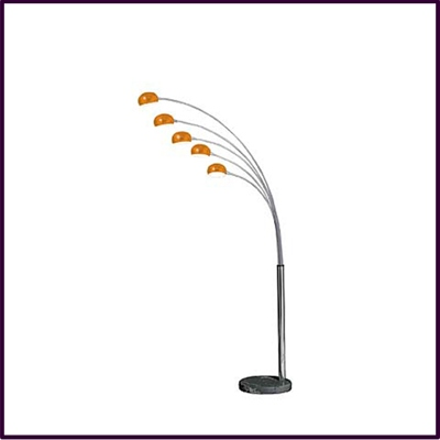 Zeus Orange 5 Arm Floor Lamp With Glass Shades Black Marble Base