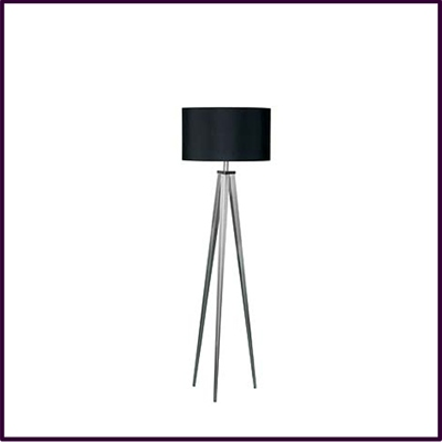 High Tripod Floor Lamp Satin Nickel With Black Shade