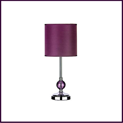 Chrome Table Lamp With Purple Glass Ball And Purple Shade