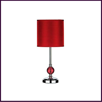Chrome Table Lamp With Red Glass Ball And Red Shade