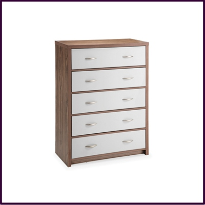High Gloss White and Walnut Finish 5 Drawer Chest