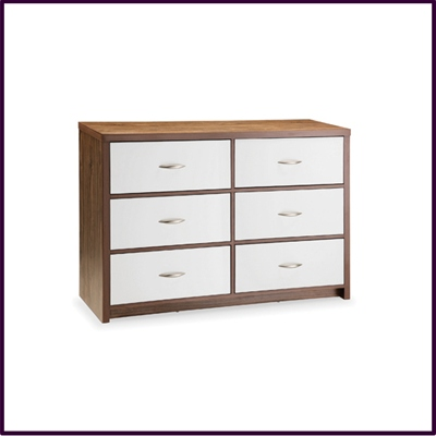High Gloss White and Walnut Finish 6 Drawer Chest