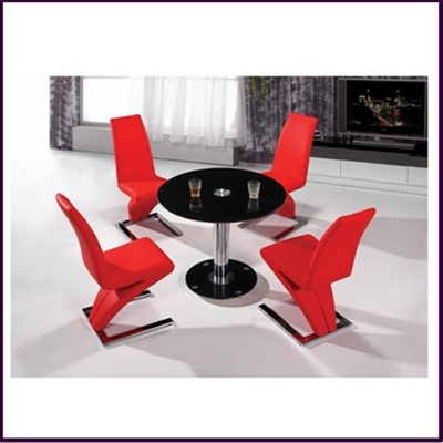 Alonza Black Glass 4 Seater Dining Set