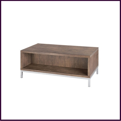 Foiled Wood Grain Coffee Table with Shelf Below