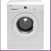 Beko 1600rpm white washing machine with a 7kg load capacity and AA+A energy efficiency rating featuring 12 programmes including 34 minute quick wash, baby and toddler clothing and special woollen programme.
