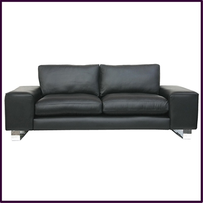 Contemporary 'Barcelona' sofa with chrome ski legs