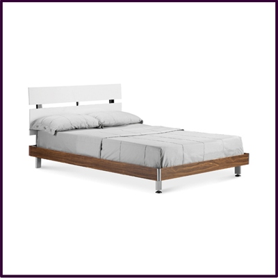 High Gloss White Bed Frame With Contrasting Walnut Finish Base And Chrome Legs.