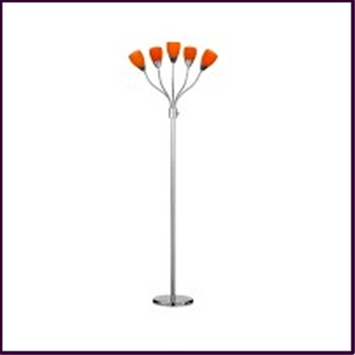 Floor Lamp Orange Glass Shade