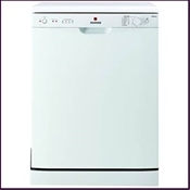Hoover HED6612 energy efficiency and cleaning performance grading of 'AA', fullsize white dishwasher. Features removable cutlery basket and economy wash programme.